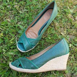 Nurture Green Textured Espadrille Wedge Heel 9.5
